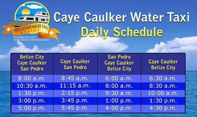 caye caulker water taxi schedule