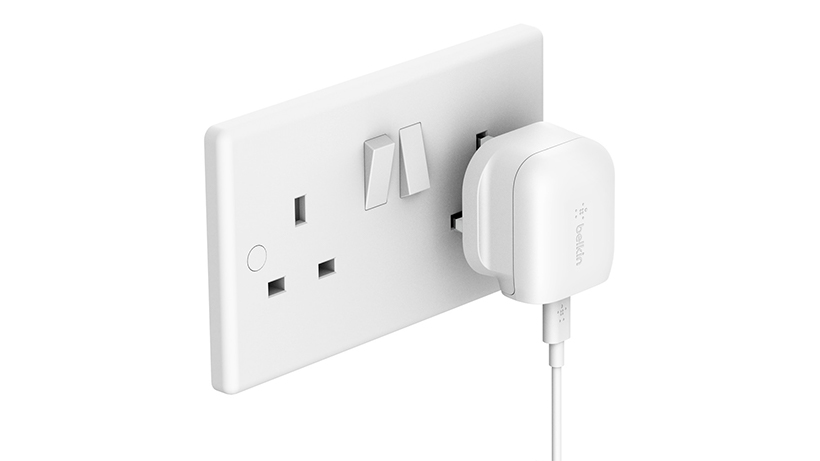 BOOST↑CHARGE USB-C Wall Charger plugged into an outlet