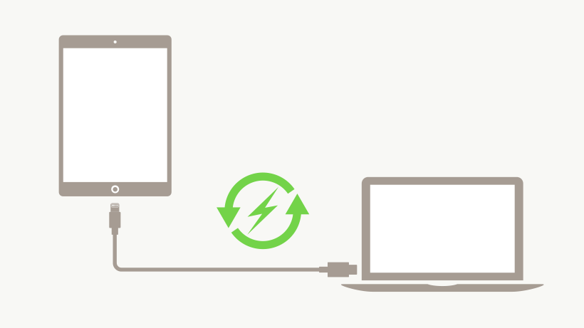 USB-C Lightning cable connecting an iPad to a Laptop