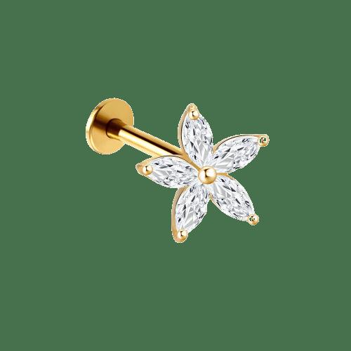 14k Solid Gold 5 Petal Gem - Bella Andrea London