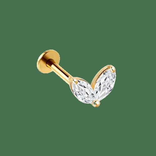 14k Solid Gold Twin Gem Tiara - Bella Andrea London - Piercing Jewellery