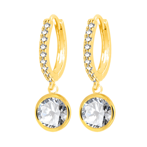 Jewelled Hoop with Solitaire Gem - Bella Andrea London