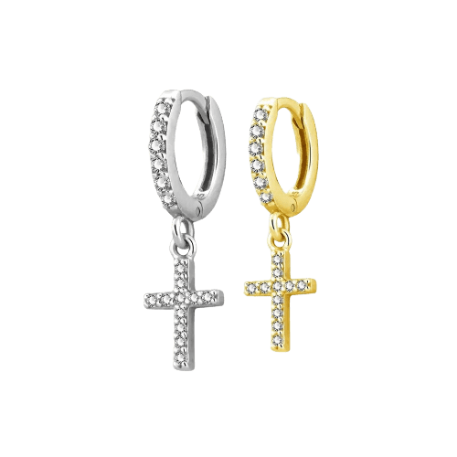 Jewelled Hoops with Cross - Bella Andrea London