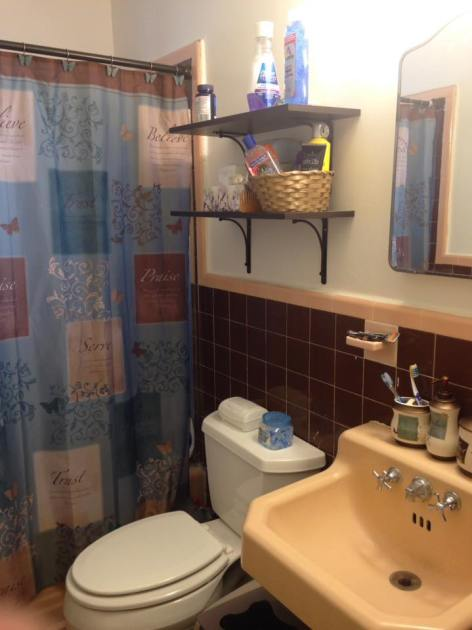 Above-the-toilet shelves are perfect for bathroom storage