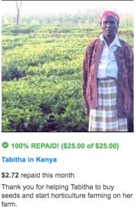 Kiva loan repaid by Tabitha