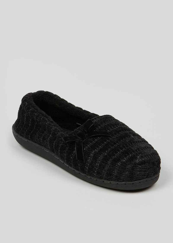 Black Velour Full Slippers