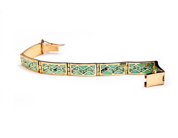 Gold bracelet with Crico Lake turquoise