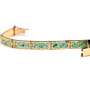 Gold bracelet with Crico Lake turquoise