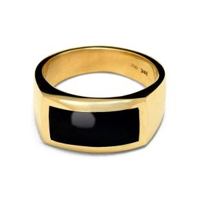 men's Gold ring with black onyx inlay