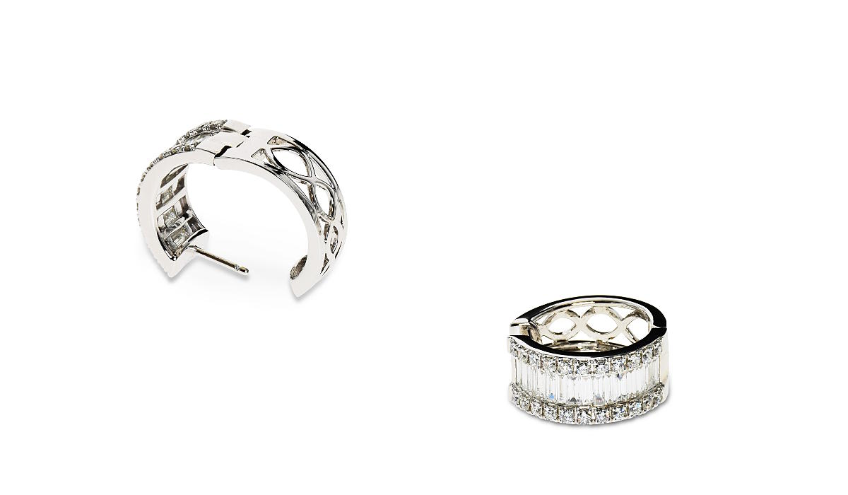 White gold earrings with baguette and round diamonds
