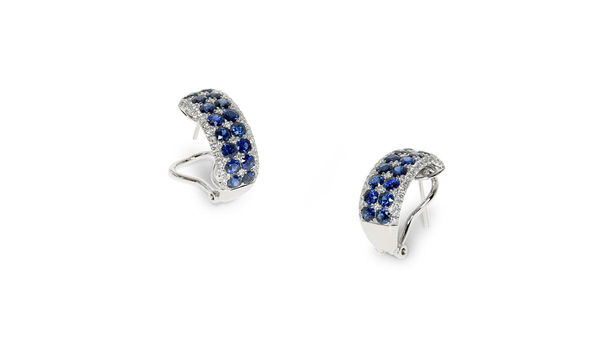 White gold earrings with riws of diamonds and sapphires