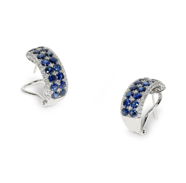 White gold earrings with sapphires and diamonds