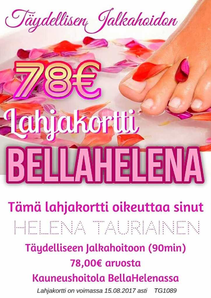 BellaHelena Lahjakortti 78€ Täydelliseen Jalkahoitoon 2017