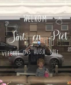 Welkom Sint en Piet vergeet ons huisje niet - Raamsticker herbruikbaar