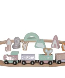 Little Dutch treinbaan gepersonaliseerd - Kraam cadeau - naam cadeau - Little dutch met naam - Gepersonaliseerd cadeau - Geboorte cadeau