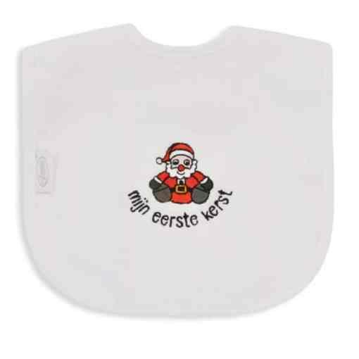 Slab - Kerstman zittend - Mijn eerste kerst - Baby slabbetjes - Slabbetje - Slabben - Gepersonaliseerd met tekst - Kraam cadeau - Gepersonaliseerde slabben