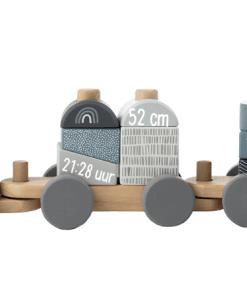 Label Label Stapeltrein Blauw - Met geboorte gegevens - Gepersonaliseerd cadeau - Naam cadeau - Kraam cadeau - Geboorte cadeau - Gepersonaliseerd speelgoed