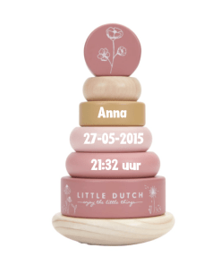 Little dutch - Tuimelstapelaar - Wild Flowers - Met naam - Leuke stapel toren met naam van Little Dutch - Kraam cadeau - Naam cadeau