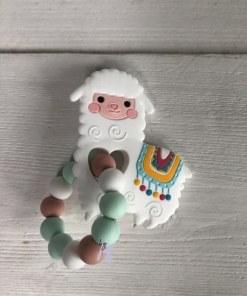 """Bijtring """"Lama"""" - Kraam cadeau - Kraamcadeau - Spenenkoord - Kraam cadeau - Geboorte cadeau - Gepersonaliseerd cadeau"""