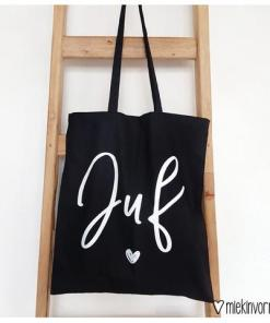 TAS | TAS JUF (ZWART) - Boodschappen tas - Einde schooljaar cadeau - cadeau voor de juf - Tas Juf - Liefste juf