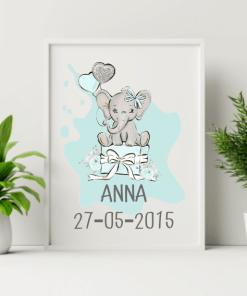 Geboorte poster - Cadeau olifant Blauw