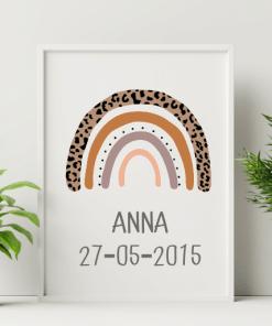 Geboorte poster - Regenboog Leopard
