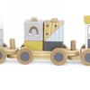 Tryco - Wooden Animal Train met naam en geboortegegevens - Gepersonaliseerd met geboorte gegevens - kraam cadeau - geboorte cadeau