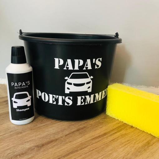 Papa auto poets set - Shampoo - emmer - Spons - Auto wassen mannen - Cadeau papa - Cadeau opa - vaderdag cadeau