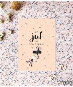 Zo blij met een juf als jij || Ansichtkaart + gelukspoppetje Roze - Einde schooljaar cadeau - Juffen bedankje - Trakteren op school
