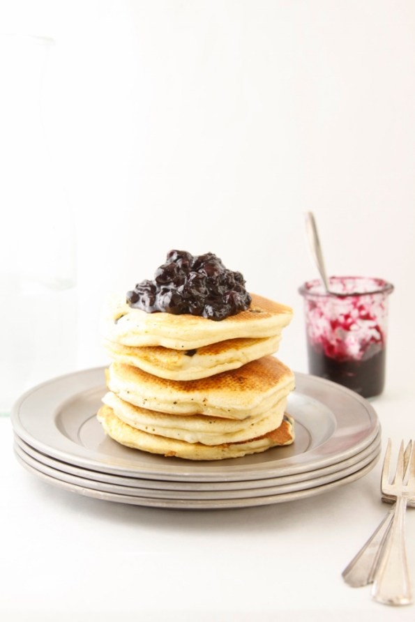 Ricotta Pancakes with Blueberry Compote www.bellalimento.com