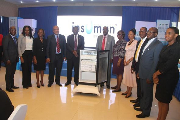 Some members of Sanofi's Management and key opinion leaders in the healthcare industry unveiling INSUMAN in Lagos