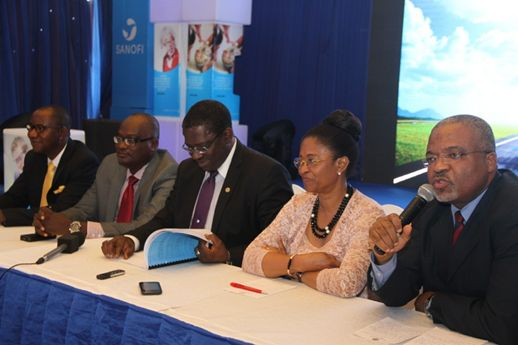 L-R: Pharm. Dimeji Agbolade (Head of Public Affairs, Sanofi Nigeria-Ghana), Prof. Babatope Kolawole (Consultant Physician & Endocrinologist, Obafemi Awolowo University, Ile-Ife), Prof. Adewale Oke (Chief Medical Director, Lagos State University Teaching Hospital), Dr. Dorothy Esangbedo (President, Union of National African Pediatric Societies and Associations, UNAPSA) and Dr. Inoussa Fifen (Director of Medical and Regulatory Affairs, Sanofi Nigeria-Ghana) addressing a press conference during the launch of INSUMAN in Lagos