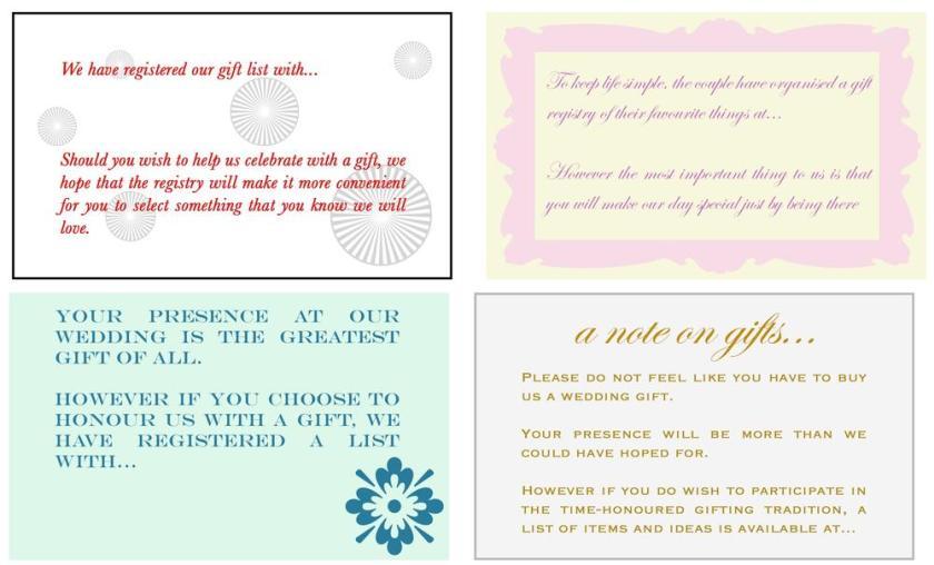Wedding Invitation Gift List Wording Exles