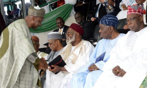 PIC.3. FROM LEFT:FORMER VICE PRESIDENT NAMADI SAMBO; FORMER HEAD OF STATE, GEN. IBRAHIM BABANGIDA; FORMER HEAD OF  STATE, GEN. ABDULSALAMI ABUBAKAR; FORMER HEAD OF INTERIM GOVERNMENT, CHIEF ERNEST SHONEKAN AND FORMER PRESIDENT  OLUSEGUN OBASANJO, DURING THE INAUGURATION OF PRESIDENT  MUHAMMADU BUHARI IN ABUJA ON FRIDAY (29/5/15). 2816/29/5/2015/ISE/CH/NAN