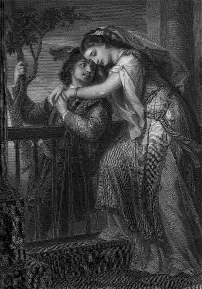 Illustration of Juliet embracing Romeo on her balcony in Act II, Scene 2 of William Shakespeare's play 'Romeo and Juliet.' (Kean Collection/Getty Images)