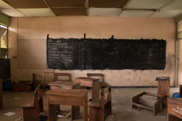 During Renovation Ireti Primary School Classroom