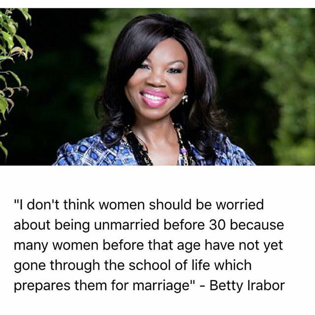 Betty Irabor on marriage before 30 for women_January 2016