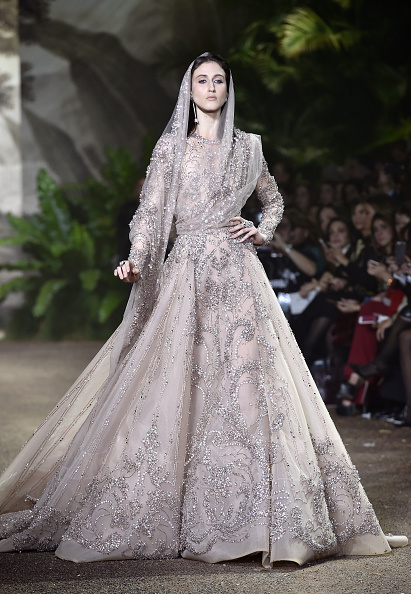 PARIS, FRANCE - JANUARY 27: Model Anna Cleveland walks the runway during the Elie Saab Spring Summer 2016 show as part of Paris Fashion Week on January 27, 2016 in Paris, France. (Photo by Pascal Le Segretain/Getty Images)