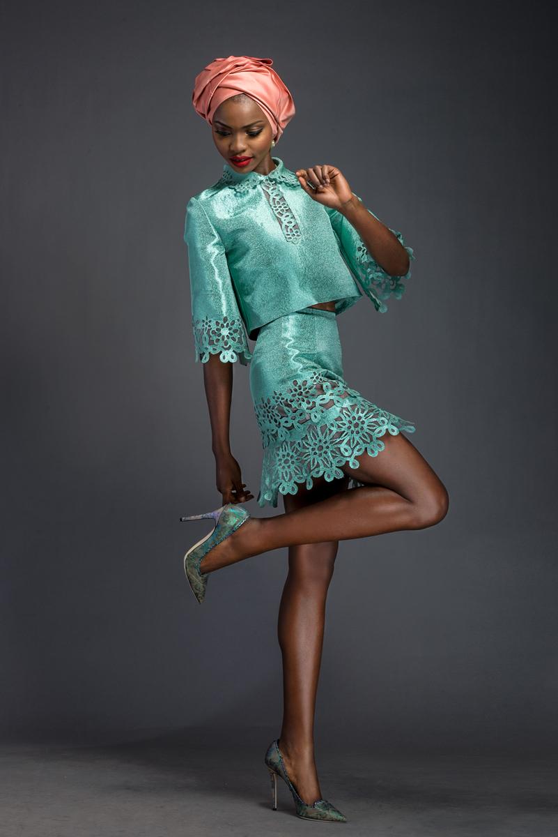 TALLULAH. Aquamarine Aso-oke top and skirt patterned with Komole Kandids Fractal motif.