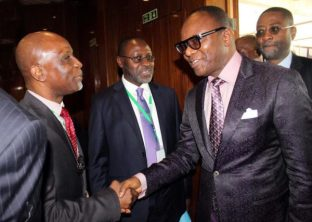 Pic.15. The Managing Director/Chief Executive Officer of Frontier Oil Limited, Dada Thomas (L) welcoming the Minister of State for Petroleum, Ibe Kachikwu to the opening of the 10th International Conference and Exhibition of the Nigerian Gas Association (NGA), in Abuja on Monday (31/10/16). Middle is the president of NGA and Managing Director of Oando Gas and Power, Bolaji Osunsanya. 8093/31/10/2016/Jones Bamidele/NAN
