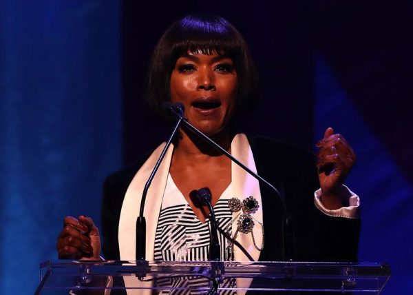 NEW YORK, NY - OCTOBER 17: Angela Bassett speaks during the Hillary Victory Fund - Stronger Together concert at St. James Theatre on October 17, 2016 in New York City. Broadway stars and celebrities performed during a fundraising concert for the Hillary Clinton campaign. (Photo by Justin Sullivan/Getty Images)