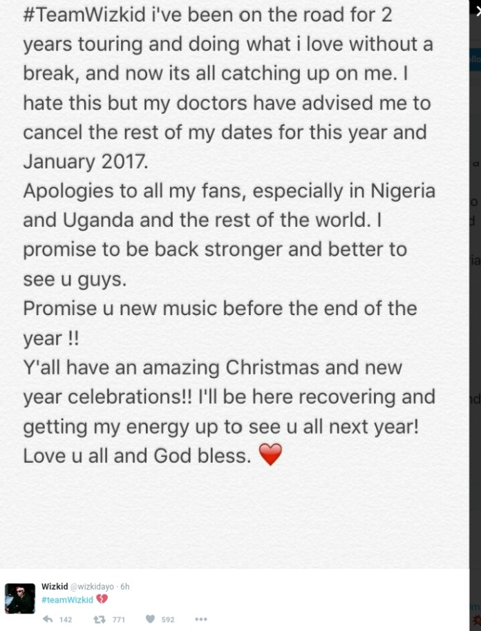 Wizkid cancels all shows