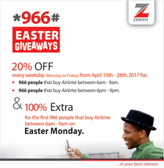 Image result for Enjoy 20% Discount Off all Airtime Purchases made with the Zenith Bank Eazybanking Service