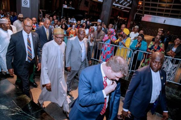 President Buhari arrives New York, to speak at UN General Assembly - BellaNaija