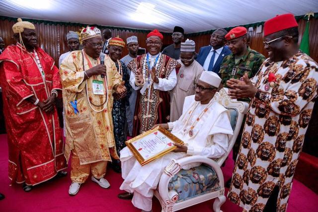 #PMBinSE: President Buhari conferred with 2 Chieftaincy Titles in Ebonyi - BellaNaija