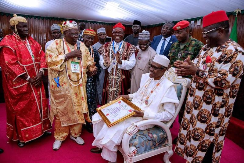 #PMBinSE: President Buhari conferred with 2 Chieftaincy Titles in Ebonyi - BellaNaija