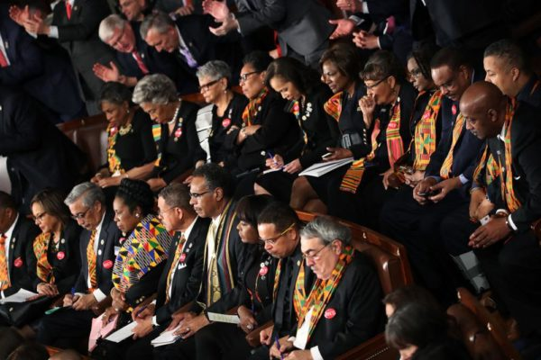 Black members of US Congress wear Kente at Donald Trump's 1st State of the Union Address - BellaNaija