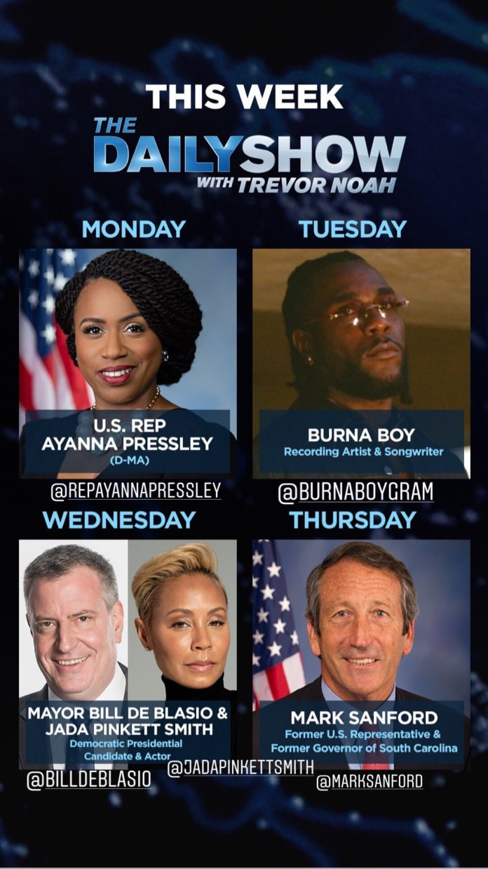The Daily Show with Trevor Noah hosts Burna Boy this Week!