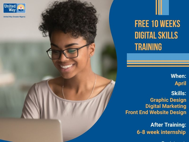 Learn the Basics of Digital Advertising and marketing, Graphic Design & Front End Web Design with United Way Greater Nigeria