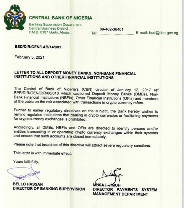 Shocking as CBN Bans Cryptocurrency Exchange in Nigeria | See Nigerians reaction